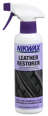 Leather clothing, equipment and accessories will absorb water and wet out when used in damp or wet conditions if their Durable Water Repellency (DWR) has been compromised.When leather absorbs water, tanning agents and lubricants are lost, which causes the leather to become dry, stiff and prone to splitting. Over time this will cause the structure of leather to degrade.Additionally, when leather is wet its breathability is reduced. This causes leather clothing to become sweaty and wet inside from condensation.Therefore, the DWR of your leather gear must be maintained to ensure comfort and performance. Through use, the DWR applied to leather gear will be lost through abrasion. Nikwax Leather Restorer adds DWR and nourishes leather with tanning agents and lubricants keeping it in top condition and helping your gear to perform better and for longer.